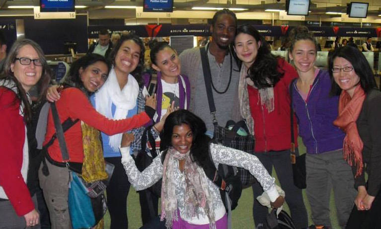 Josina Manu, Ananya Chatterjea, Alex Eady, Brittany Radke, Chitra Vairavan, Orlando Hunter, Rose Huey, Renée Copeland & Hui Wilcox. Minneapolis-St. Paul Airport, April 2013