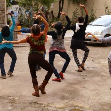 Dancing at ASWAD, a shelter for women and children. Sept. 28, 2015. Photo by Blen Sahilu