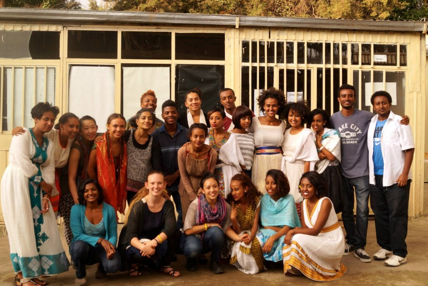 Members of ADT and the Yellow Movement with staff of ASWAD, a shelter for women and children. Sept. 28, 2015. Photo by Blen Sahilu