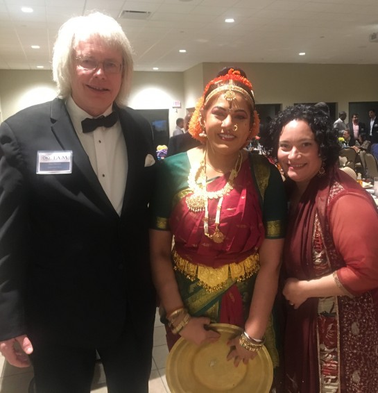 Purnima Desari, classical dancer, performed as part of the Connect India festivities. Here, with ADT's Gary Peterson (l) and Gina Kundan (r).